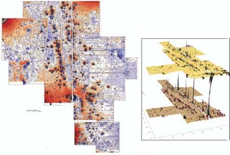 Аномалии над очагами.  Двухмерное (слева)  и трёхмерное (справа) изображение