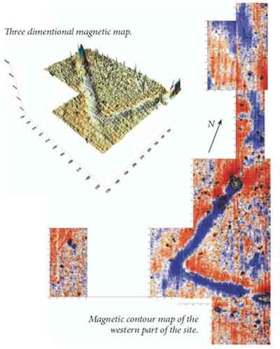 Двух- и трёхмерное изображение магнитного поля погребённой стены