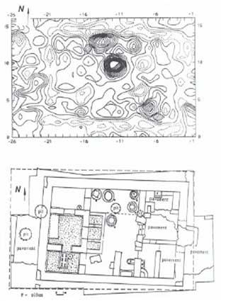 Древние постройки и очаги в магнитном поле