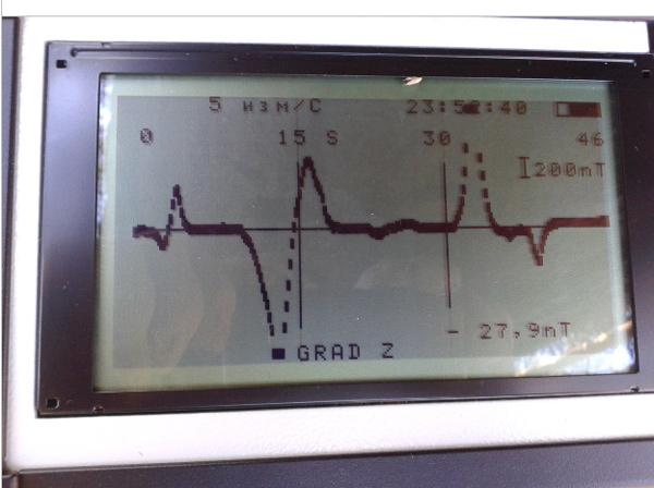 График градиента над 4-мя нитками трубопровода на дисплее МГ400.