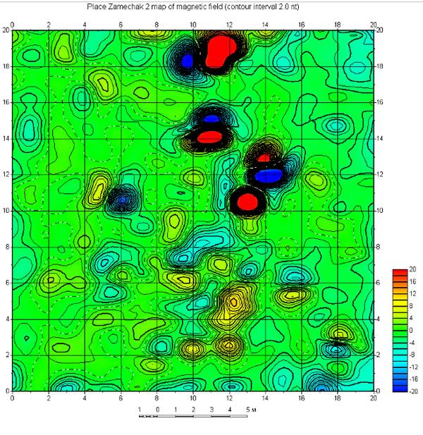 Карта градиента магнитного поля.